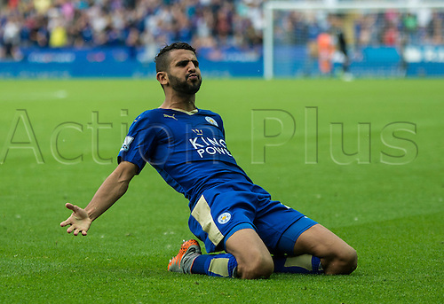 22.08.2015. Leicester, England. Barclays Premier League. Leicester City versus Tottenham Hotspur. Riyad Mahrez of Leicester City celebrates after scoring to bring the score to 1-1 seconds after Spurs scored to go ahead.