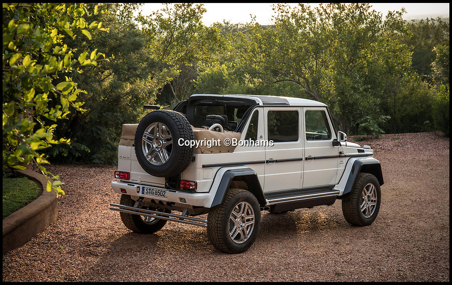 BNPS.co.uk (01202 558833)Pic: Bonhams/BNPS<br /> <br /> Mercedes' 'G-class' Maybach G650.<br /> <br /> A limited edition Mercedes G-class has sold for a massive £1.2m at auction - a world record for the footballers favourite.<br /> <br /> The Mercedes-Maybach G650 Landaulet, is one of 99 to be made and sold for more than double the list price of €630,000 (Around 563,000).<br /> <br /> The height of luxury, features include heated cup holders, massage chairs, individual fully-reclinable seats and a partition between driver and passengers which goes from clear to opaque in seconds.<br /> <br /> It also has a canvas roof which opens at the touch of a button, fold-out leather tables, silver champagne flutes and state of the art entertainment systems.