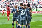 14.04.2019, Merkur Spiel-Arena, Duesseldorf, GER, DFL, 1. BL, Fortuna Duesseldorf vs FC Bayern Muenchen, DFL regulations prohibit any use of photographs as image sequences and/or quasi-video<br /> <br /> im Bild die Mannschaft von Muenchen Jubel / Freude / Emotion / Torjubel / Torschuetze zum 0:2 Kingsley Coman (#29, FC Bayern München / Muenchen) <br /> <br /> Foto © nph/Mauelshagen