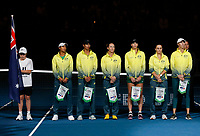 9th November 2019; RAC Arena, Perth, Western Australia, Australia; Fed Cup by BNP Paribas Tennis Final, Day 1, Australia versus France; Australian players line up for the National Anthems