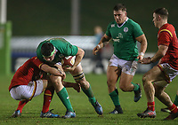 Wales U20's Ben Jones tackles Ireland U20's Paul Boyle<br /> <br /> Photographer Alex Dodd/CameraSport<br /> <br /> RBS Six Nations U20 Championship Round 4 - Wales U20s v Ireland U20s - Saturday 11th March 2017 - Parc Eirias, Colwyn Bay, North Wales<br /> <br /> World Copyright &copy; 2017 CameraSport. All rights reserved. 43 Linden Ave. Countesthorpe. Leicester. England. LE8 5PG - Tel: +44 (0) 116 277 4147 - admin@camerasport.com - www.camerasport.com