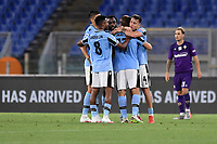 Lazio players celebrate at the end of the Serie A football match between SS Lazio and ACF Fiorentina at stadio Olimpico in Roma ( Italy ), June 27th, 2020. Play resumes behind closed doors following the outbreak of the coronavirus disease. Photo Antonietta Baldassarre / Insidefoto