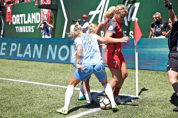 Portland, OR - Saturday August 05, 2017: Lindsey Horan, Rachel Daly during a regular season National Women's Soccer League (NWSL) match between the Portland Thorns FC and the Houston Dash at Providence Park.