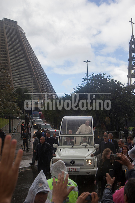 Pope Francis on board the Papa Mobile leaves the Cathedral in downtown Rio de Janeiro, Brazil