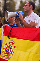 Venezuelans and Bolivians who lived in Spain concentrate at Spain Square to join the Spanish people against Catalonia secessionist process. In Madrid on October 11, 2017.
