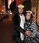 Morgan and April during the Onesie Crawl held on Saturday night, Nov. 18, 2017 in downtown Reno.