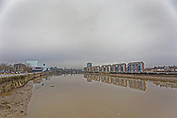 Pictured: River Usk in Newport, Wales, UK. Thursday 14 February 209<br /> Re: The city of Newport is preparing to host the FA Cup match between Newport County and Manchester City at Rodney Parade, Newport, Wales, UK.