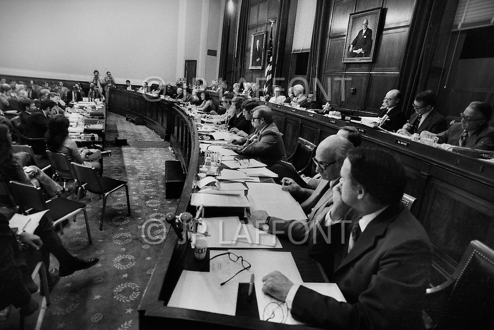 Washington DC,1973. Watergate hearings. A break in at the Democratic National Committee headquarters at the Watergate complex on June 17, 1972 results in one of the biggest political scandals the US government has ever seen.  Effects of the scandal ultimately led to the resignation of  President Richard Nixon, on August 9, 1974, the first and only resignation of any U.S. President.