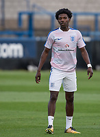Isaac Buckley-Ricketts (FC Twente (on loan from Manchester City) of England U20 during pre match warm ups during the International friendly match between England U20 and Netherlands U20 at New Bucks Head, Telford, England on 31 August 2017. Photo by Andy Rowland.
