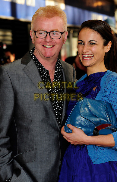 CHRIS EVANS & SHISHMANIAN.The Prince's Trust Celebrate Success Awards at Odeon Leicester Square,  London, England. .March 1st, 2010.half length grey gray suit black shirt glasses married husband wife blue cardigan purple glasses mouth open polka dot smiling .CAP/CJ.©Chris Joseph/Capital Pictures.