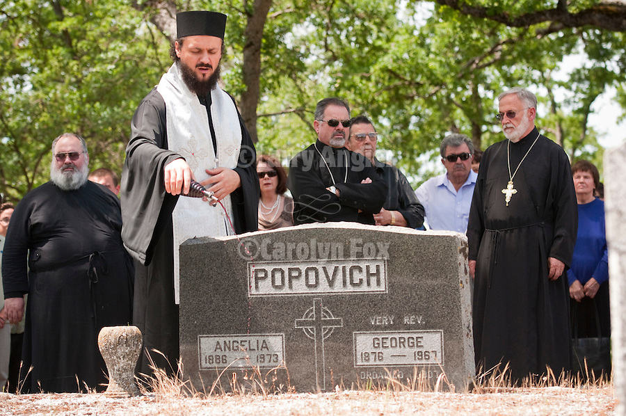 Bishop Maksim (Maxim) of the Western American Diocese of the Serbian Orthodox Church conducts a Pomen (memorial service) for the pioneer Serbians buried at the Angels Camp, Calif., Cemetery as part of the celebration of St. Vasilije of Ostrog Serbian Orthodox Church 100th anniversary. Angels Camp, Calif.