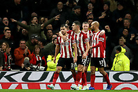 9th November 2019; Tottenham Hotspur Stadium, London, England; English Premier League Football, Tottenham Hotspur versus Sheffield United; George Baldock of Sheffield United celebrates with team mates as he scores for 1-1 in the 78th minute -  Strictly Editorial Use Only. No use with unauthorized audio, video, data, fixture lists, club/league logos or 'live' services. Online in-match use limited to 120 images, no video emulation. No use in betting, games or single club/league/player publications