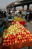 Kashmir apples being sold by the roadside.Srinagar, Kashmir, India. © Fredrik Naumann/Felix Features