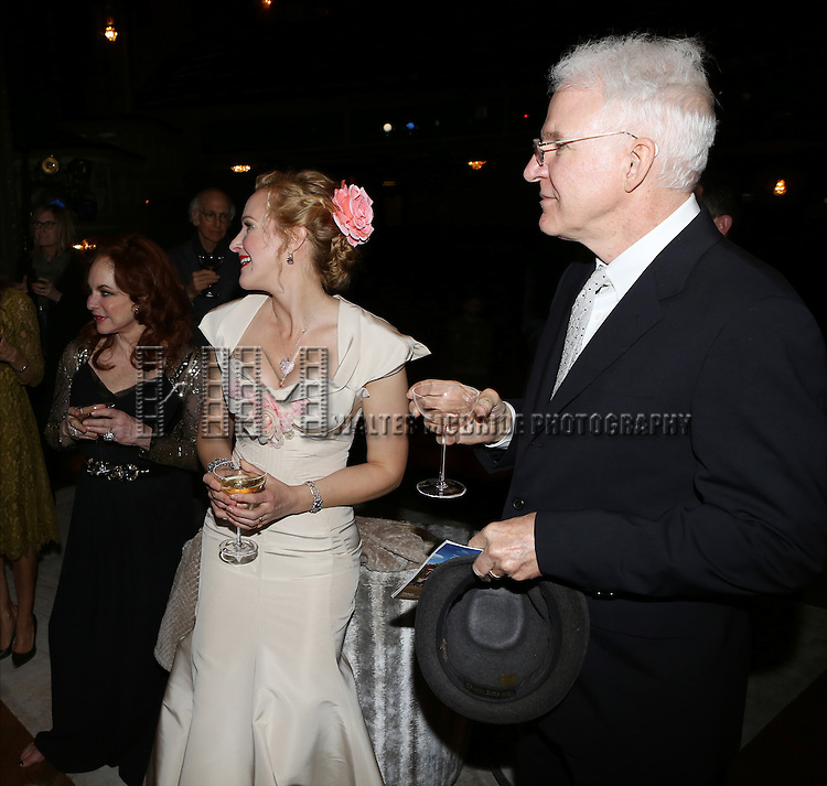 Stockard Channing, Katie Finneran and Steve Martin attend the re-opening night performance backstage reception for 'It's Only A Play' at the Bernard B. Jacobs Theatre on January 23, 2014 in New York City.