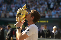 OIC - ENTSIMAGES.COM -    Andy Murray of Great Britain celebrates his win in the Gentlemen's Singles Final match against Novak Djokovic of Serbia of the Wimbledon Lawn Tennis Championships at the All England Lawn Tennis and Croquet Club 7th July 2013     Photo Ents Images/OIC 0203 174 1069