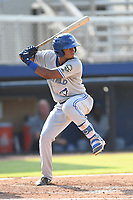 Leonardo Jimenez (10) of the Bluefield Blue Jays at bat against the Danville Braves at American Legion Post 325 Field on July 28, 2019 in Danville, Virginia. The Blue Jays defeated the Braves 9-7. (Tracy Proffitt/Four Seam Images)
