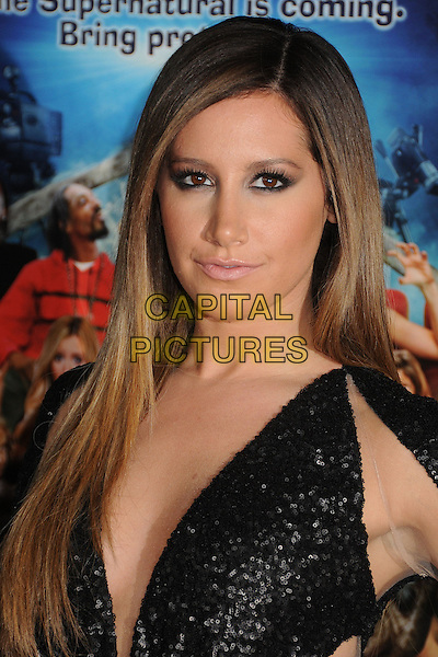 "Ashley Tisdale.Attending the ""Scary Movie 5"" Los Angeles film premiere held at the Cinerama Dome,  Hollywood, California, USA, .11th April 2013..portrait headshot sleeves cut out sheer see thru through black sequined sequin low cut ombre hair dyed make-up smokey eyes eyeliner .CAP/ADM/BP.©Byron Purvis/AdMedia/Capital Pictures"