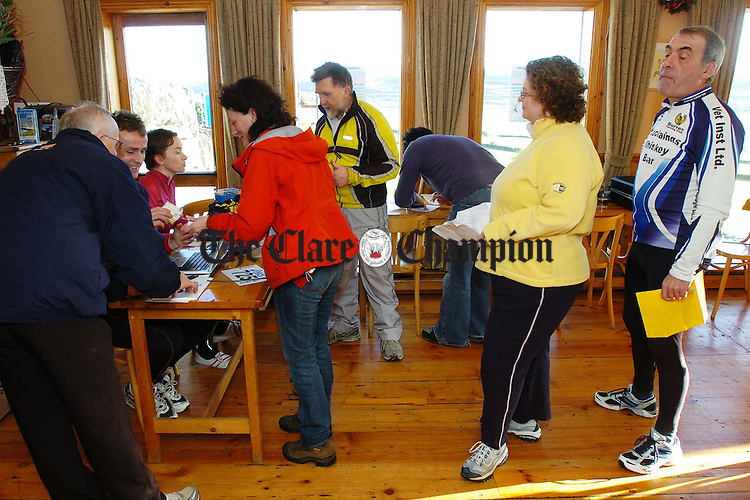 Competitors sign up for The Burren Charity Challenge at Cassidys bar in Carron.Pic Arthur Ellis.