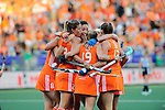 The Hague, Netherlands, June 12: Kim Lammers #23 of The Netherlands is congratulated by teammates during the field hockey semi-final match (Women) between The Netherlands and Argentina on June 12, 2014 during the World Cup 2014 at Kyocera Stadium in The Hague, Netherlands. Final score 4-0 (3-0)  (Photo by Dirk Markgraf / www.265-images.com) *** Local caption ***