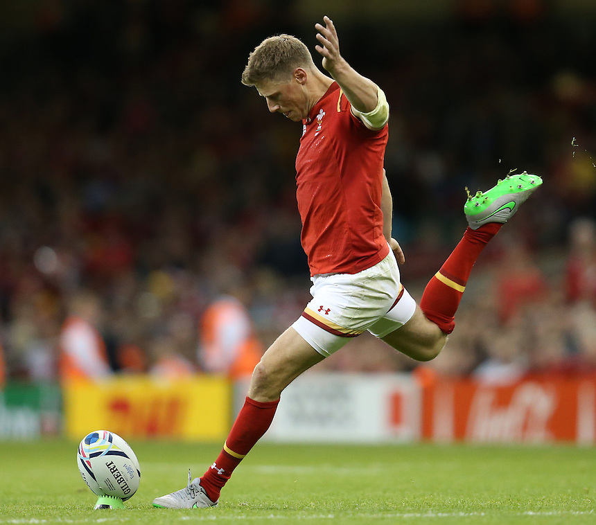 Wales' Rhys Priestland kicks a penalty<br /> <br /> Photographer Ian Cook/CameraSport<br /> <br /> Rugby Union - 2015 Rugby World Cup - Wales v Uruguay - Sunday 20th September 2015 - Millennium Stadium - Cardiff<br /> <br /> &copy; CameraSport - 43 Linden Ave. Countesthorpe. Leicester. England. LE8 5PG - Tel: +44 (0) 116 277 4147 - admin@camerasport.com - www.camerasport.com