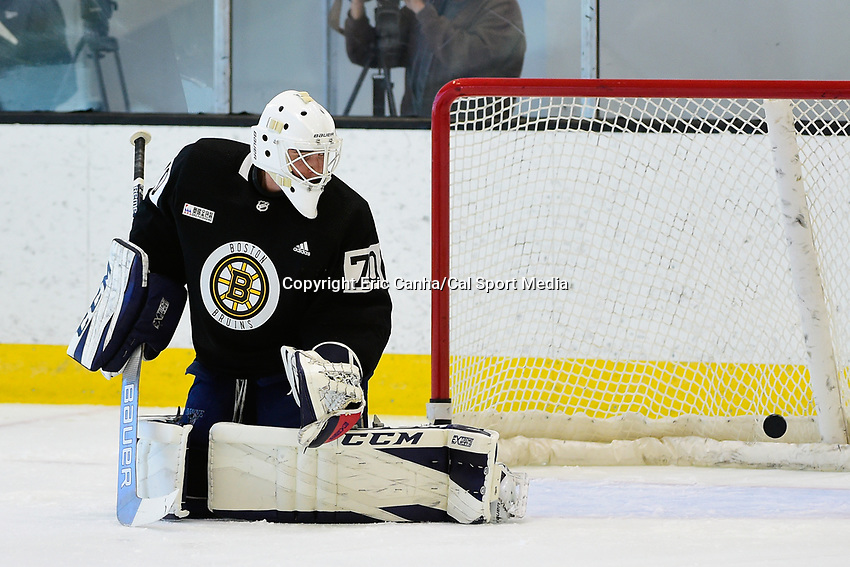 June 26, 2018: Boston Bruins goalie Jeremy Swayman (70) lets the puck get by during the Boston Bruins development camp held at Warrior Ice Arena in Brighton Mass. Eric Canha/CSM