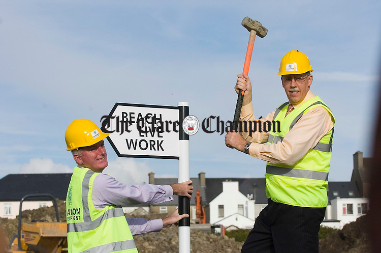 Kevin Thompstone, CEO Shannon Development, with Minister Tony Killeen at a function to mark the commencement of construction works for the e-Towns project at Miltown Malbay. Photograph by John Kelly.