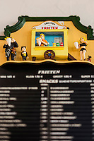 Europe/Belgique/Flandre/Flandre Occidentale/Bruges: Le Musée de la Frite, Friet Museum, Menu  // Belgium, Western Flanders, Bruges: Frietmuseum in Bruges is the first and only museum dedicated to potato fries. Menu , Belgian fries