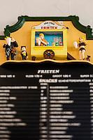 Europe/Belgique/Flandre/Flandre Occidentale/Bruges: Le Musée de la Frite, Friet Museum, Menu  // Belgium, Western Flanders, Bruges: Frietmuseum in Bruges is the first and only museum dedicated to potato fries. Menu , Belgian fries