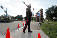 Cpl. Lenord Spicer on guard during Saturday's vigil in remembrance of Sept. 11, 2001. The vigil was held at Freedom Corner near Capaha Park in Cape Girardeau, Missouri.