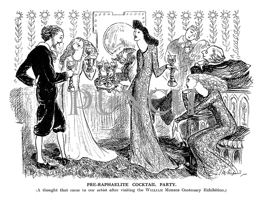 Pre-Raphaelist Cocktail Party. (A thought that came to one artist after visiting the William Morris Centenary Exhibition.)