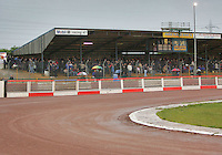 The crowd gathers in the grandstand waiting for news on the meeting, the track was in fine condition but the rain was becoming more persistent by the minute - Arena Essex vs Oxford Cheetahs - Elite League 'A' - Meeting Abandoned - 24/05/06 - (Gavin Ellis 2006)