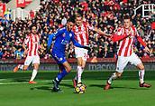 4th November 2017, bet365 Stadium, Stoke-on-Trent, England; EPL Premier League football, Stoke City versus Leicester City; Riyad Mahrez of Leicester City builds an attack watched by Darren Fletcher and Kevin Wimmer of Stoke City