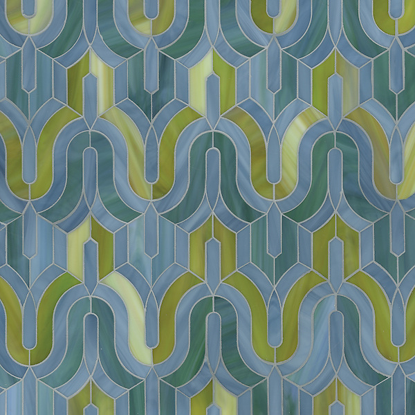 Kasbah, a waterjet mosaic shown in Mica, Peacock Topaz, and Peridot jewel glass, is part of the Silk Road collection by Sara Baldwin for New Ravenna.