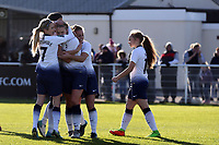 Rianna Dean of Tottenham Ladies is congratulated after scoring the second goal during Tottenham Hotspur Ladies vs Aston Villa Ladies, FA Women's Championship Football at Theobalds Lane on 28th October 2018