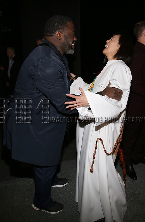 Phillip Boykin and MaryAnn Hu during the Actors' Equity opening night Gypsy Robe Ceremony honoring  MaryAnn Hu for ''Sunday in the Park with George' at the Hudson Theatre on February 23, 2017 in New York City.