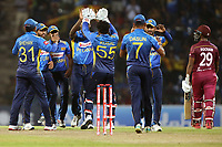March 1st 2020,Pallekele International Cricket Stadium, Balagolla, Sri Lanka; One Day International cricket, Sri Lanka versus West Indies; Sri Lanka celebrate the wicket of Nicholas Pooran, caught by substitute and bowled by Matthews