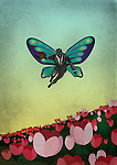Illustrative image of businessman flying with butterfly's wings over flowers representing business venture