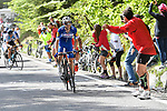 Maximilian Schachmann (GER) Quick-Step Floors drops Ruben Plaza (ESP) Israel Cycling Academy from the breakaway group approaching the end of Stage 18 of the 2018 Giro d'Italia, running 196km from Abbiategrasso to Prato Nevoso, Italy. 24th May 2018.<br /> Picture: LaPresse/Fabio Ferrari | Cyclefile<br /> <br /> <br /> All photos usage must carry mandatory copyright credit (&copy; Cyclefile | LaPresse/Fabio Ferrari)