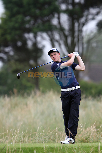 Alan Waugh (SCO) on the 4th on the Final Day at the 2012 Boys Home Internationals at Co.Louth Golf Club in Baltray, Co.Louth...(Photo credit should read Jenny Matthews/NEWSFILE)...