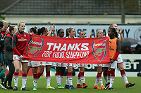Arsenal players thank their supporters after Arsenal Women vs Manchester City Women, FA Women's Super League FA WSL1 Football at Meadow Park on 12th May 2018