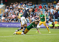 Preston North End's Sean Maguire goes down under pressure from Millwall's Jake Cooper but no penalty was awarded.<br /> <br /> Photographer Rob Newell/CameraSport<br /> <br /> The EFL Sky Bet Championship - Millwall v Preston North End - Saturday 3rd August 2019 - The Den - London<br /> <br /> World Copyright © 2019 CameraSport. All rights reserved. 43 Linden Ave. Countesthorpe. Leicester. England. LE8 5PG - Tel: +44 (0) 116 277 4147 - admin@camerasport.com - www.camerasport.com