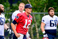 July 27, 2017: New England Patriots quarterback Tom Brady (12) jogs to the field at the New England Patriots training camp held on the at Gillette Stadium, in Foxborough, Massachusetts. Eric Canha/CSM