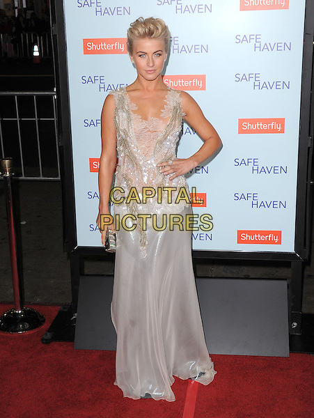 "Julianne Hough.""Safe Haven"" Los Angeles Premiere held at the TCL Chinese Theatre, Hollywood, California, USA..February 5th, 2013      .full length dress hand on hip sleeveless clutch bag white silver sheer lace  .CAP/DVS.©DVS/Capital Pictures."