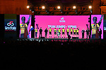 Team Jumbo-Visma on stage at the Teams Presentation held in Piazza Maggiore Bologna before the start of the 2019 Giro d'Italia, Bologna, Italy. 9th May 2019.<br /> Picture: Massimo Paolone/LaPresse | Cyclefile<br /> <br /> All photos usage must carry mandatory copyright credit (&copy; Cyclefile | Massimo Paolone/LaPresse)