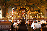 An interior shot of Le Train Bleu, a restaurant at the Paris, France Lyon Gare Train Station