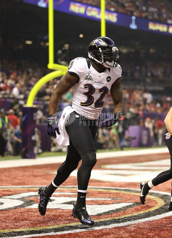 Feb 3, 2013; New Orleans, LA, USA; Baltimore Ravens safety James Ihedigbo (32) against the San Francisco 49ers in Super Bowl XLVII at the Mercedes-Benz Superdome. Mandatory Credit: Mark J. Rebilas-
