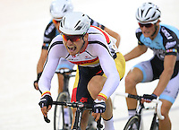 Southland's Cameron Karwowski competes in the madison at the BikeNZ Elite & U19 Track National Championships, Avantidrome, Home of Cycling, Cambridge, New Zealand, Sunday, March 16, 2014. Credit: Dianne Manson