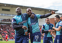Myles Weston of Wycombe Wanderers celebrates his goal with Adebayo Akinfenwa of Wycombe Wanderers during the Sky Bet League 2 match between Leyton Orient and Wycombe Wanderers at the Matchroom Stadium, London, England on 1 April 2017. Photo by Andy Rowland.