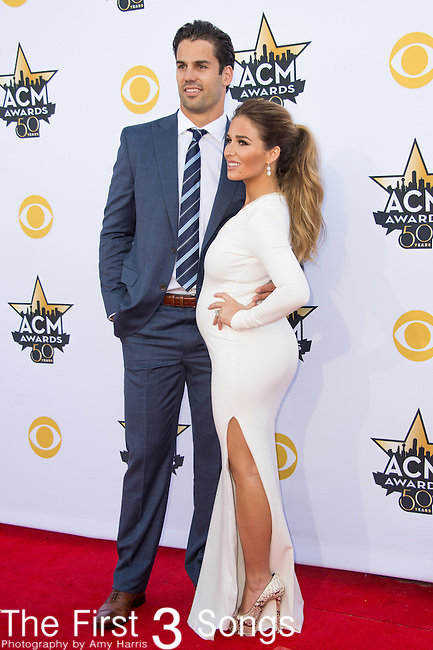 Eric Decker and Jessie James Decker attend the 50th Academy Of Country Music Awards at AT&T Stadium on April 19, 2015 in Arlington, Texas.