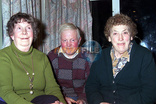 Alice Halpenny, Joe Owens and Mary Dillon at the Slane senior citizens party in Stackallen Pitch and Putt Club..Picture: Paul Mohan/Newsfile